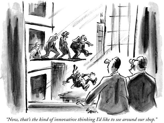 """""""Now, that's the kind of innovative thinking I'd like to see around our shop."""" - New Yorker Cartoon-Lee Lorenz-Premium Giclee Print"""