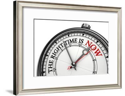 Now The Right Time Concept Clock-donskarpo-Framed Art Print