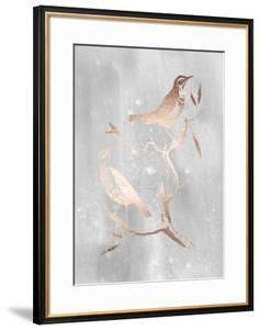 Rose Gold Foil Birds I on Grey Wash by Nozeman