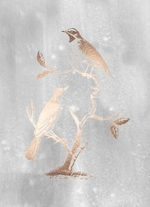 Rose Gold Foil Birds II on Grey Wash by Nozeman