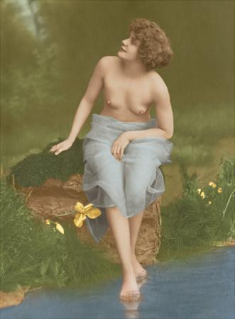 Water Nymph - Classic Vintage French Nude - Hand-Colored Tinted Art
