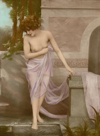 The Bather - Classic Vintage French Nude - Hand-Colored Tinted Art