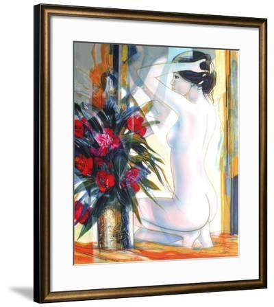 Nu au bouquet-Jean-Baptiste Valadie-Framed Premium Edition