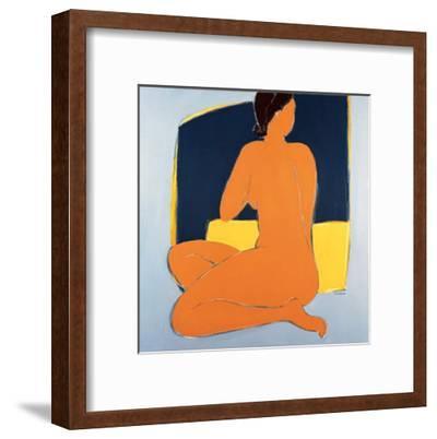 Nu Bleu Sur Fond Jaune-Véronique Laroque-Framed Art Print