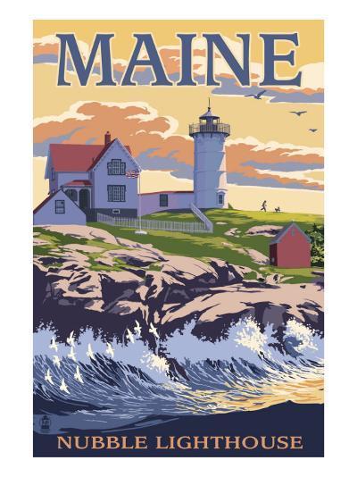 Nubble Lighthouse - York, Maine-Lantern Press-Art Print