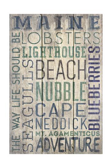 Nubble - Maine - Barnwood Typography-Lantern Press-Art Print
