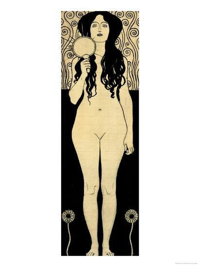 Nuda Veritas (Naked Truth), Inscribed Truth is Fire and to Speak Truth is Shining and Burning-Gustav Klimt-Giclee Print