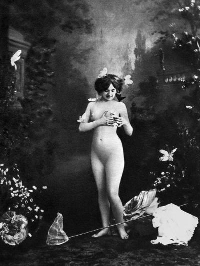 Nude And Butterflies, C1900--Photographic Print