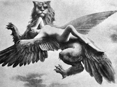 Nude And Griffin, 1890S--Photographic Print