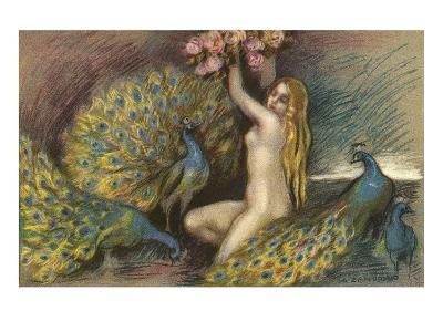 Nude Blonde with Peacocks--Art Print