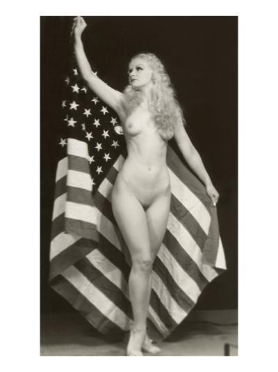 Nude Blonde with U.S. Flag--Art Print