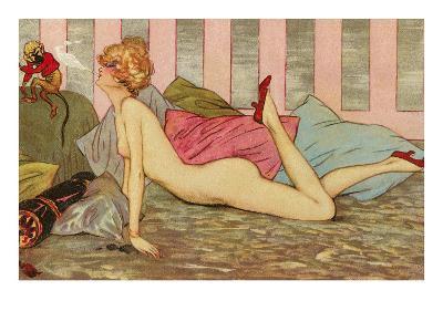 Nude Blowing Smoke at Monkey--Art Print
