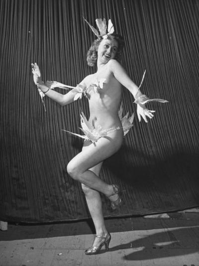 "Nude Burlesque Dancer from ""Folies Bergere""-Ralph Morse-Photographic Print"