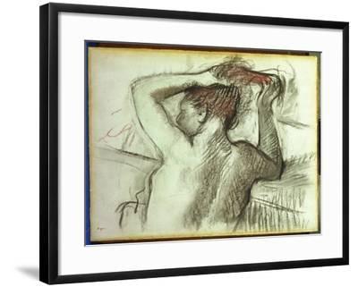 Nude Combing Her Hair-Edgar Degas-Framed Giclee Print