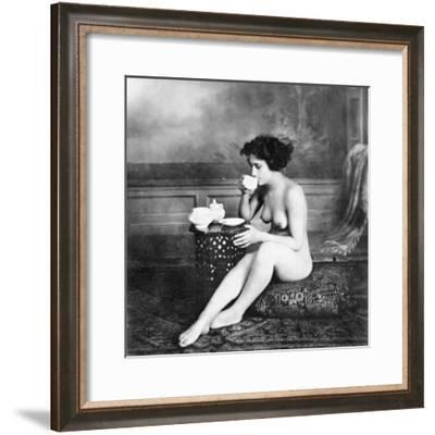 Nude Drinking Tea, 19Th Ct--Framed Photographic Print