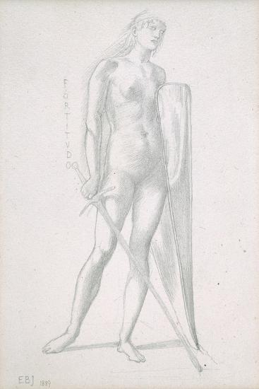 Nude Full-Length and Study for Fortitude, Holding Long Shield and Sword, C.1870-Edward Burne-Jones-Giclee Print