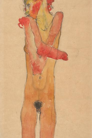 Nude Girl with Folded Arms, 1910-Egon Schiele-Giclee Print
