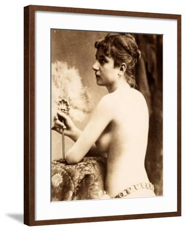 Nude Half-Length Portrait, in Profile, of a Young Woman with a Feather Fan--Framed Photographic Print