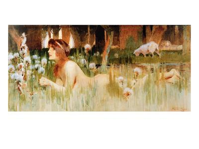 Nude in the Woods (W/C on Paper)-Frank Craig-Giclee Print