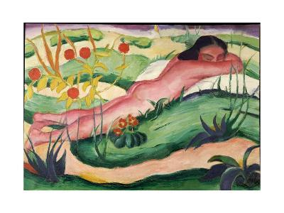 Nude Lying in the Flowers, 1910-Franz Marc-Giclee Print
