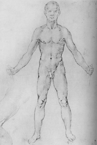 'Nude Man With Arms Stretched Out, Seen from the Front', c1480 (1945)-Leonardo da Vinci-Giclee Print