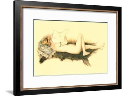 Nude Reading Newspaper on Bearskin Rug--Framed Art Print