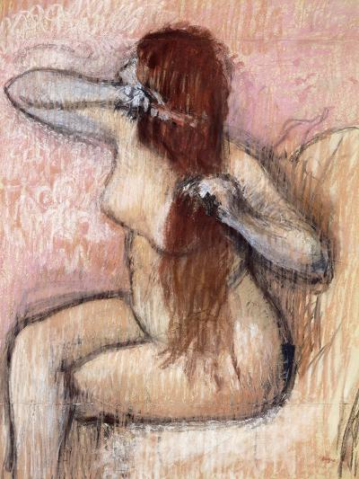 Nude Seated Woman Arranging Her Hair; Femme Nu Assise, Se Coiffant, C.1887-1890-Edgar Degas-Giclee Print