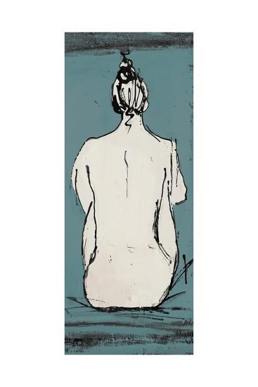 Nude Sketch on Blue II-Patricia Pinto-Premium Giclee Print