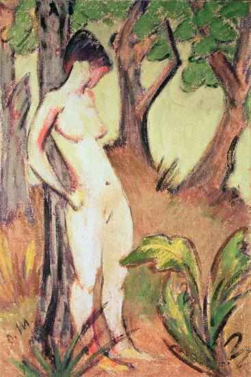 Nude Standing Against a Tree-Otto Muller-Giclee Print