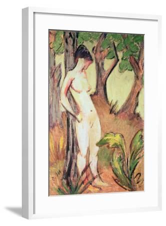 Nude Standing Against a Tree-Otto Muller-Framed Giclee Print