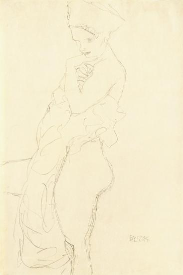 Nude Standing Left, Holding a Towel to the Body, 1917-Gustav Klimt-Giclee Print
