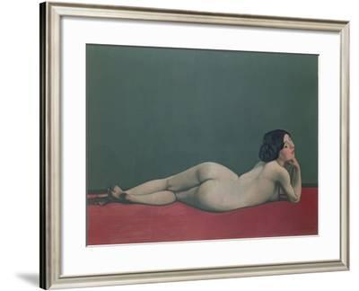 Nude Stretched Out on a Piece of Cloth, 1909-Félix Vallotton-Framed Giclee Print