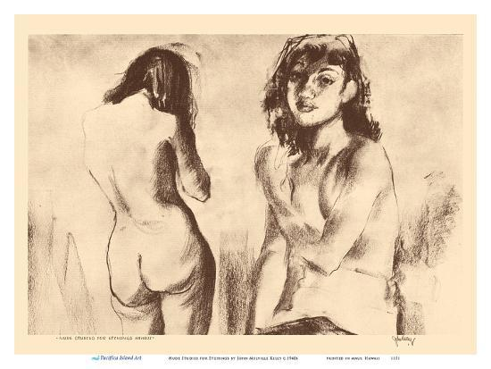 Nude Studies for Etchings - from Etchings and Drawings of Hawaiians-John Melville Kelly-Art Print