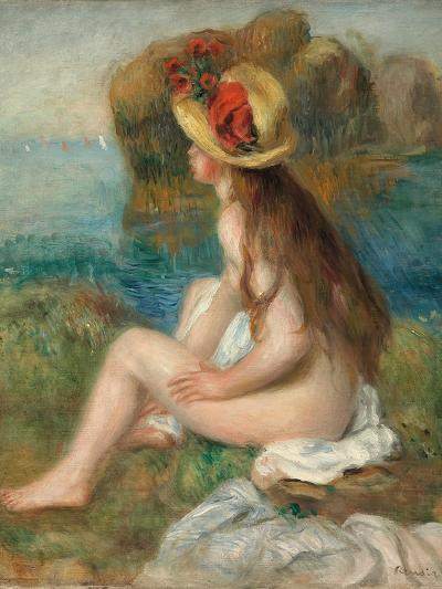 Nude with a Straw Hat Beside the Sea, 1892-Pierre-Auguste Renoir-Giclee Print