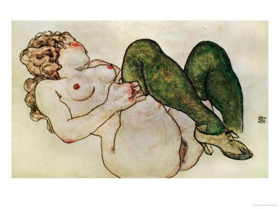 Nude with Green Stockings, 1918-Egon Schiele-Giclee Print