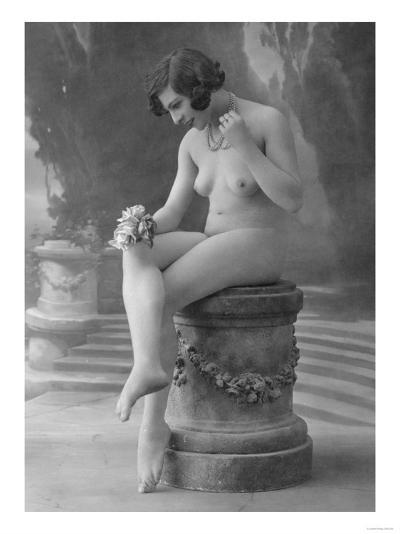 Nude Woman French Art Nouveau Photograph No.13 - France-Lantern Press-Art Print