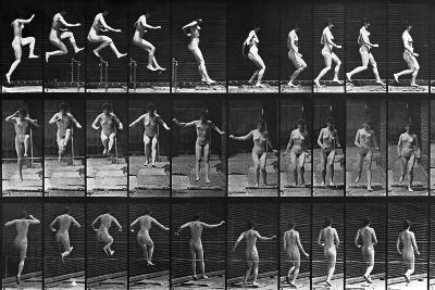 Nude Woman Hurdling--Photographic Print
