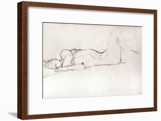 Nude Woman in Bed, c.1914-Gustav Klimt-Framed Giclee Print