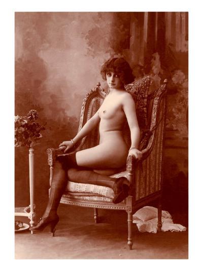 Nude Woman in Black Tights--Art Print