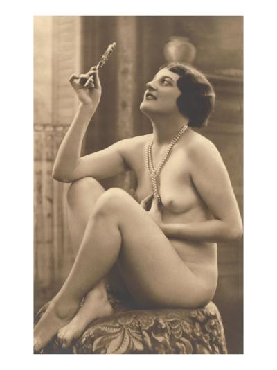 Nude Woman in Pearls with Small Mirror--Art Print