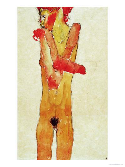Nude Woman Iwith Folded Arms, 1910-Egon Schiele-Giclee Print