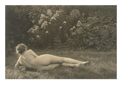 Nude Woman on Grass with Hedges--Art Print