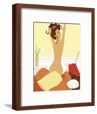 Nude Woman Stretching in Bed after Waking Up--Framed Art Print