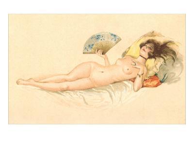 Nude Woman with Fan--Art Print