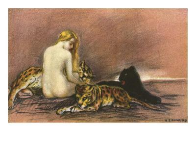 Nude Woman with Leopards and Panther--Art Print
