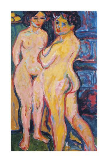 Nudes Standing by a Stove, 1908-Ernst Ludwig Kirchner-Premium Giclee Print