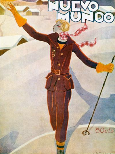 Nuevo Mundo Ski Suit and Skis, 1929--Giclee Print