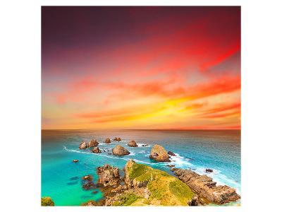 Nugget Point Coast at Sunset--Art Print