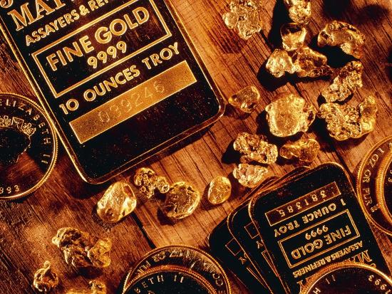 Nuggets, Bars And Coins Made of Gold-David Nunuk-Photographic Print