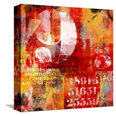 Number & Text Abstract Collage--Stretched Canvas Print